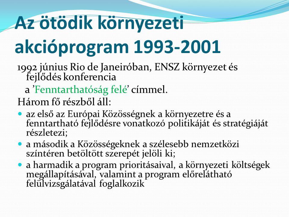 Az ötödik környezeti akcióprogram 1993-2001 1992 június Rio de Janeiróban, ENSZ környezet és fejlődés konferencia a 'Fenntarthatóság felé' címmel.