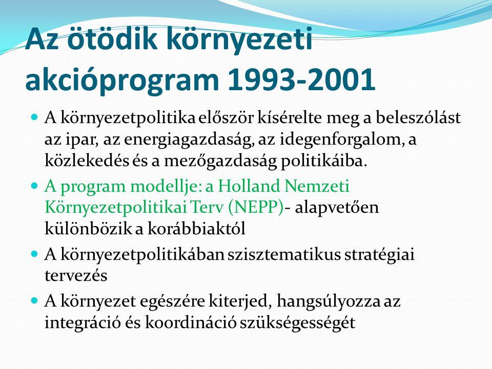 Az ötödik környezeti akcióprogram 1993-2001 A környezetpolitika először kísérelte meg a beleszólást az ipar, az energiagazdaság, az idegenforgalom, a közlekedés és a mezőgazdaság politikáiba.