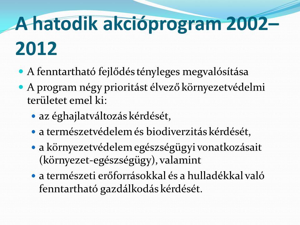A hatodik akcióprogram 2002– 2012 A fenntartható fejlődés tényleges megvalósítása A program négy prioritást élvező környezetvédelmi területet emel ki: az éghajlatváltozás kérdését, a természetvédelem és biodiverzitás kérdését, a környezetvédelem egészségügyi vonatkozásait (környezet-egészségügy), valamint a természeti erőforrásokkal és a hulladékkal való fenntartható gazdálkodás kérdését.