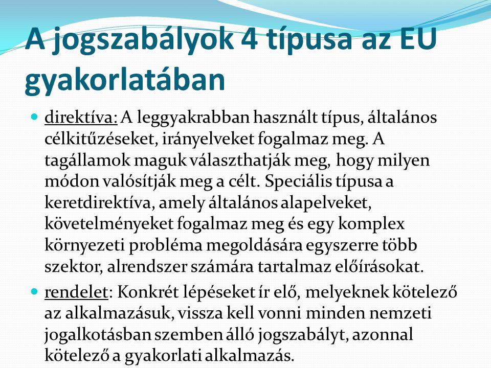 A jogszabályok 4 típusa az EU gyakorlatában direktíva: A leggyakrabban használt típus, általános célkitűzéseket, irányelveket fogalmaz meg.