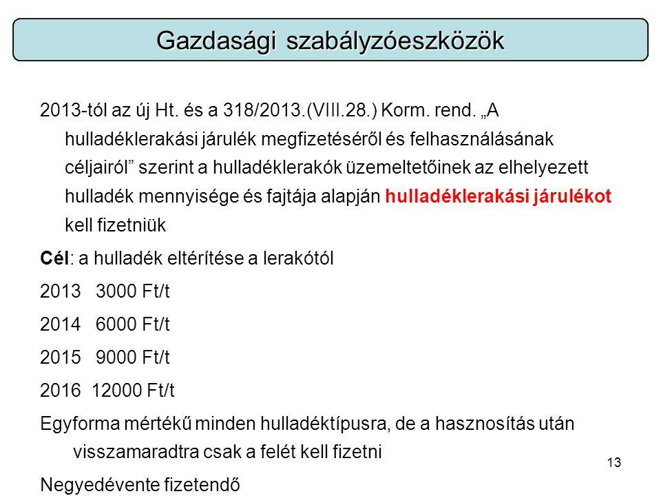 13 2013-tól az új Ht. és a 318/2013.(VIII.28.) Korm.