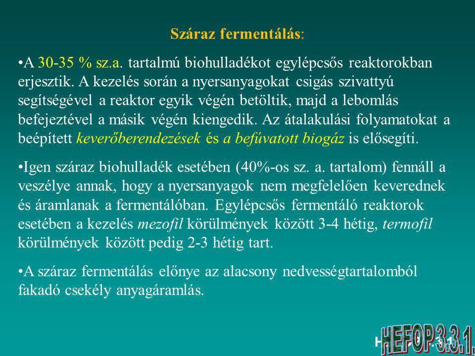 HEFOP 3.3.1.Nedves fermentálás: A nyersanyagok szárazanyag-tartalmát az előkezelés során kb.