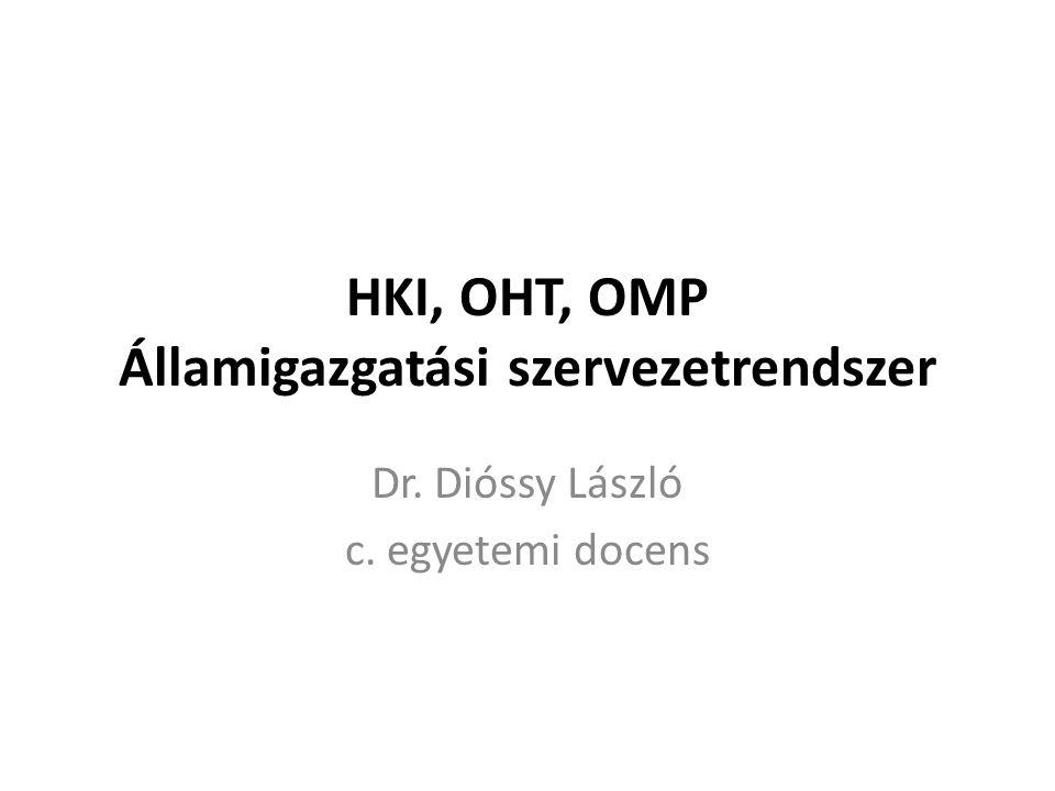 HKI, OHT, OMP Államigazgatási szervezetrendszer Dr. Dióssy László c. egyetemi docens