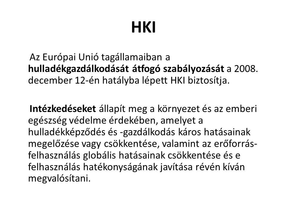 HKI Az Európai Unió tagállamaiban a hulladékgazdálkodását átfogó szabályozását a 2008. december 12-én hatályba lépett HKI biztosítja. Intézkedéseket á