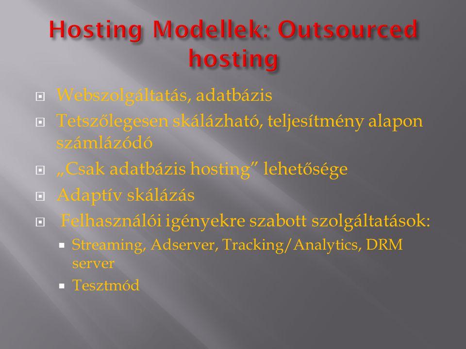 """ Webszolgáltatás, adatbázis  Tetszőlegesen skálázható, teljesítmény alapon számlázódó  """"Csak adatbázis hosting lehetősége  Adaptív skálázás  Felhasználói igényekre szabott szolgáltatások:  Streaming, Adserver, Tracking/Analytics, DRM server  Tesztmód"""