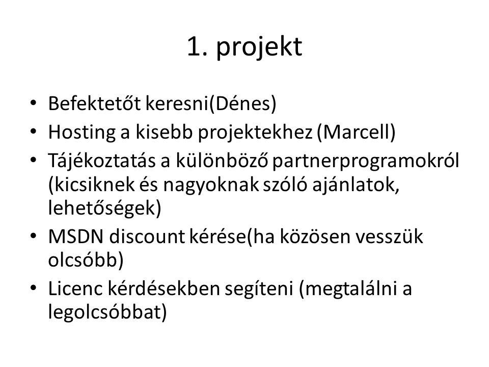 1. projekt Befektetőt keresni(Dénes) Hosting a kisebb projektekhez (Marcell) Tájékoztatás a különböző partnerprogramokról (kicsiknek és nagyoknak szól