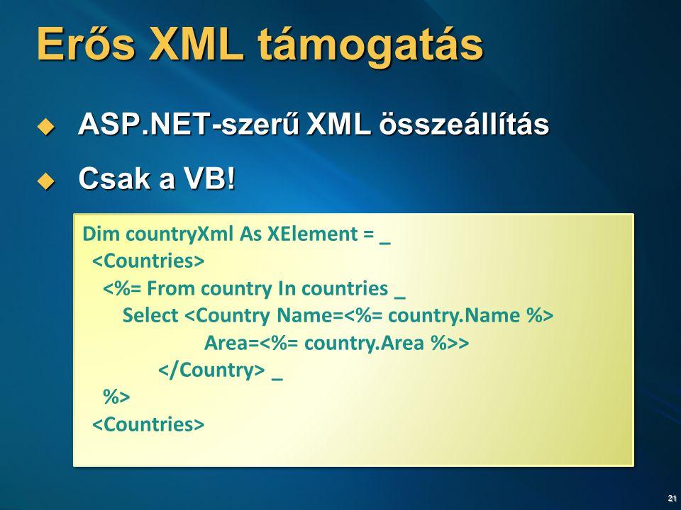 21 Erős XML támogatás  ASP.NET-szerű XML összeállítás  Csak a VB! Dim countryXml As XElement = _ <%= From country In countries _ Select Area= > _ %>