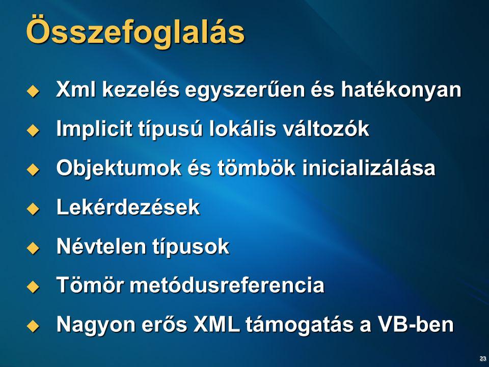23 Összefoglalás  Xml kezelés egyszerűen és hatékonyan  Implicit típusú lokális változók  Objektumok és tömbök inicializálása  Lekérdezések  Névtelen típusok  Tömör metódusreferencia  Nagyon erős XML támogatás a VB-ben