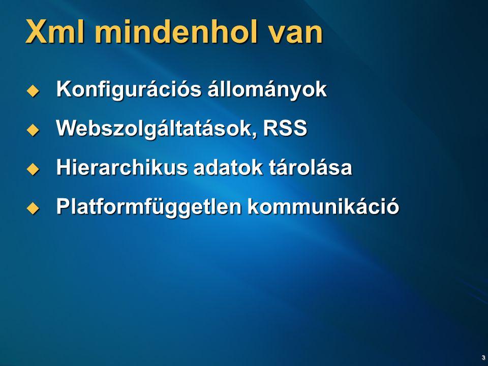 3 Xml mindenhol van  Konfigurációs állományok  Webszolgáltatások, RSS  Hierarchikus adatok tárolása  Platformfüggetlen kommunikáció