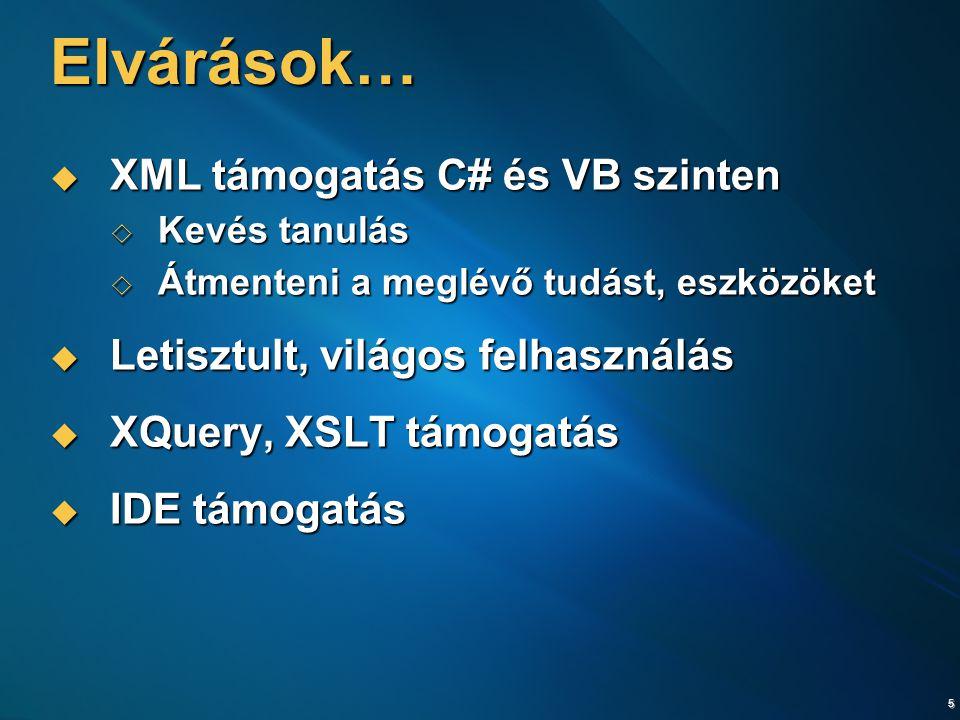5 Elvárások…  XML támogatás C# és VB szinten  Kevés tanulás  Átmenteni a meglévő tudást, eszközöket  Letisztult, világos felhasználás  XQuery, XS