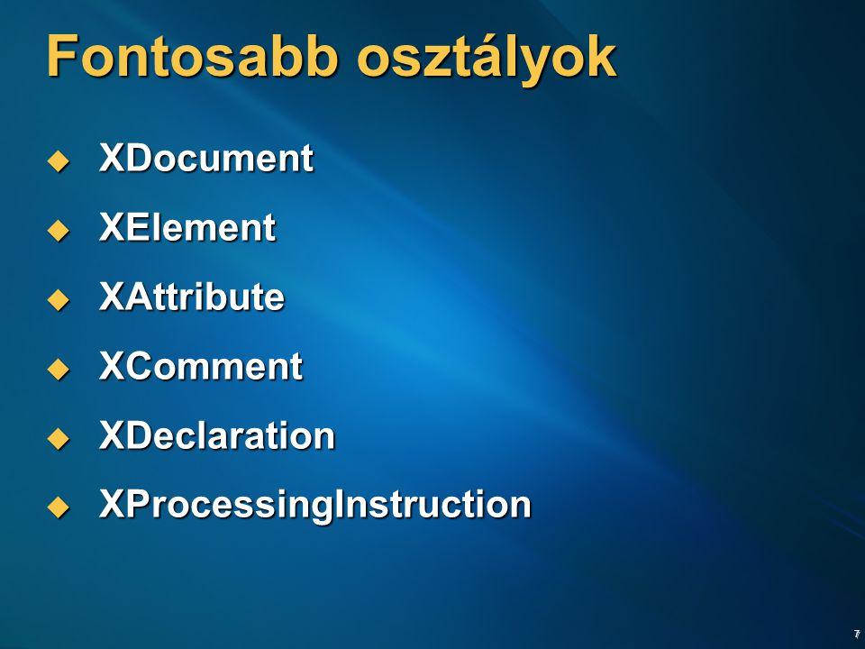 8 Xml létrehozása XElement xml = new XElement( contacts , new XElement( contact , new XAttribute( contactId , 1 ), new XElement( firstName , Gábor ), new XElement( lastName , Gincsai ) ), new XElement( contact , new XAttribute( contactId , 2 ), new XElement( firstName , Zoltán ), new XElement( lastName , Dávid ) ) ); Console.WriteLine(xml); XElement xml = new XElement( contacts , new XElement( contact , new XAttribute( contactId , 1 ), new XElement( firstName , Gábor ), new XElement( lastName , Gincsai ) ), new XElement( contact , new XAttribute( contactId , 2 ), new XElement( firstName , Zoltán ), new XElement( lastName , Dávid ) ) ); Console.WriteLine(xml);