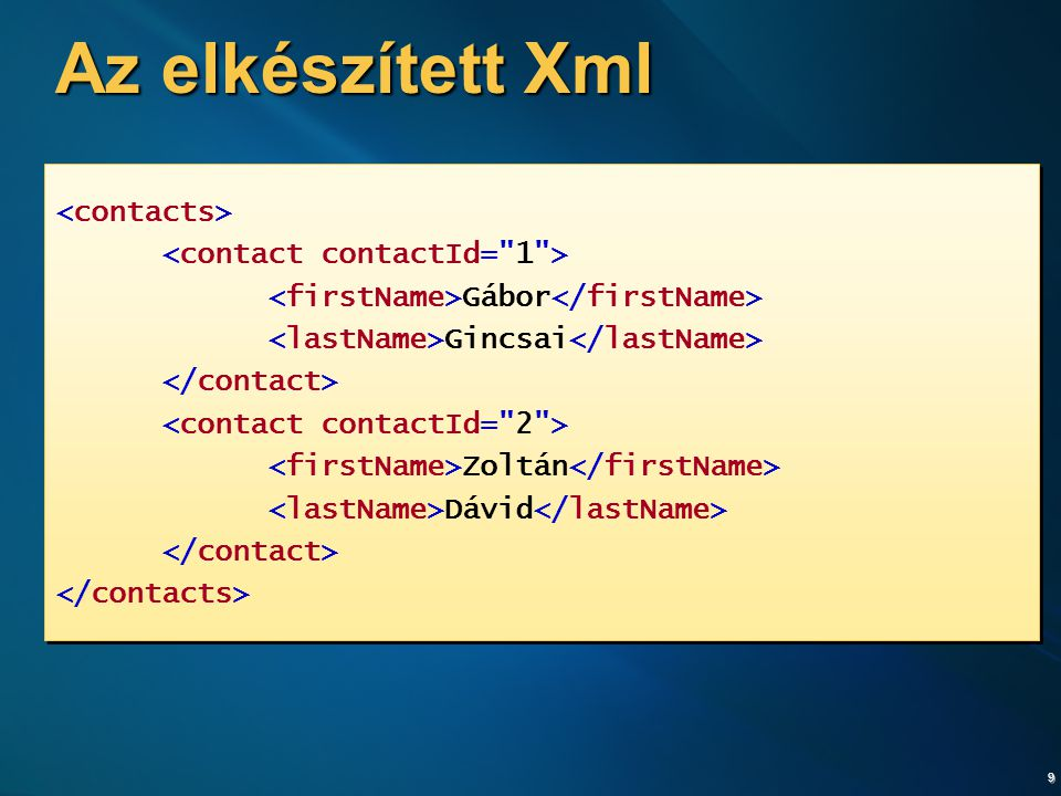 """10 XDocument létrehozása XDocument doc = new XDocument( new XDeclaration( 1.0 , utf-8 , yes ), new XComment(""""RSS Feed ), new XElement( rss , new XAttribute( version , 2.0 ), new XElement ( channel , new XElement( title , RSS csatorna címe ), new XElement( description , RSS csatorna leírás ), new XElement( link , http://example.com ), new XElement( item , new XElement( title , """"Első cikk ), new XElement( description , """"Első leírás ), new XElement( pubDate , DateTime.Now.ToString()), new XElement( guid , Guid.NewGuid())) ) ) ); doc.Save(@ c:\sample.xml );"""