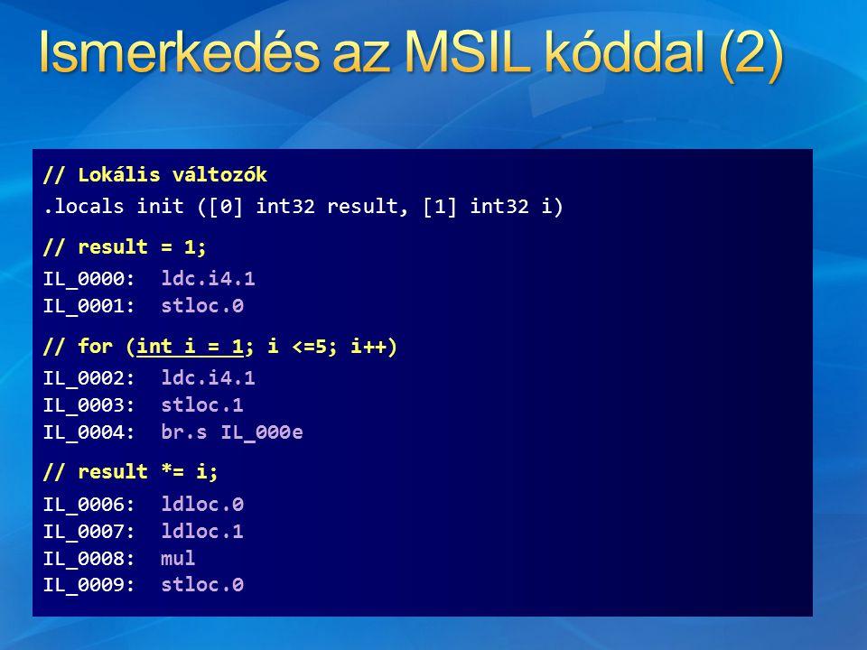 // Lokális változók.locals init ([0] int32 result, [1] int32 i) // result = 1; IL_0000: ldc.i4.1 IL_0001: stloc.0 // for (int i = 1; i <=5; i++) IL_0002: ldc.i4.1 IL_0003: stloc.1 IL_0004: br.s IL_000e // result *= i; IL_0006: ldloc.0 IL_0007: ldloc.1 IL_0008: mul IL_0009: stloc.0