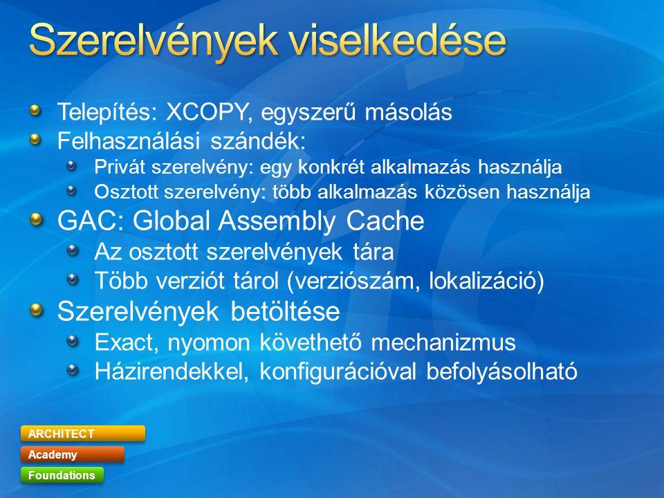 ARCHITECT Academy Foundations Telepítés: XCOPY, egyszerű másolás Felhasználási szándék: Privát szerelvény: egy konkrét alkalmazás használja Osztott szerelvény: több alkalmazás közösen használja GAC: Global Assembly Cache Az osztott szerelvények tára Több verziót tárol (verziószám, lokalizáció) Szerelvények betöltése Exact, nyomon követhető mechanizmus Házirendekkel, konfigurációval befolyásolható