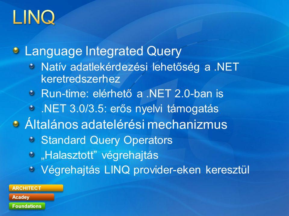 """ARCHITECT Acadey Foundations Language Integrated Query Natív adatlekérdezési lehetőség a.NET keretredszerhez Run-time: elérhető a.NET 2.0-ban is.NET 3.0/3.5: erős nyelvi támogatás Általános adatelérési mechanizmus Standard Query Operators """"Halasztott végrehajtás Végrehajtás LINQ provider-eken keresztül"""