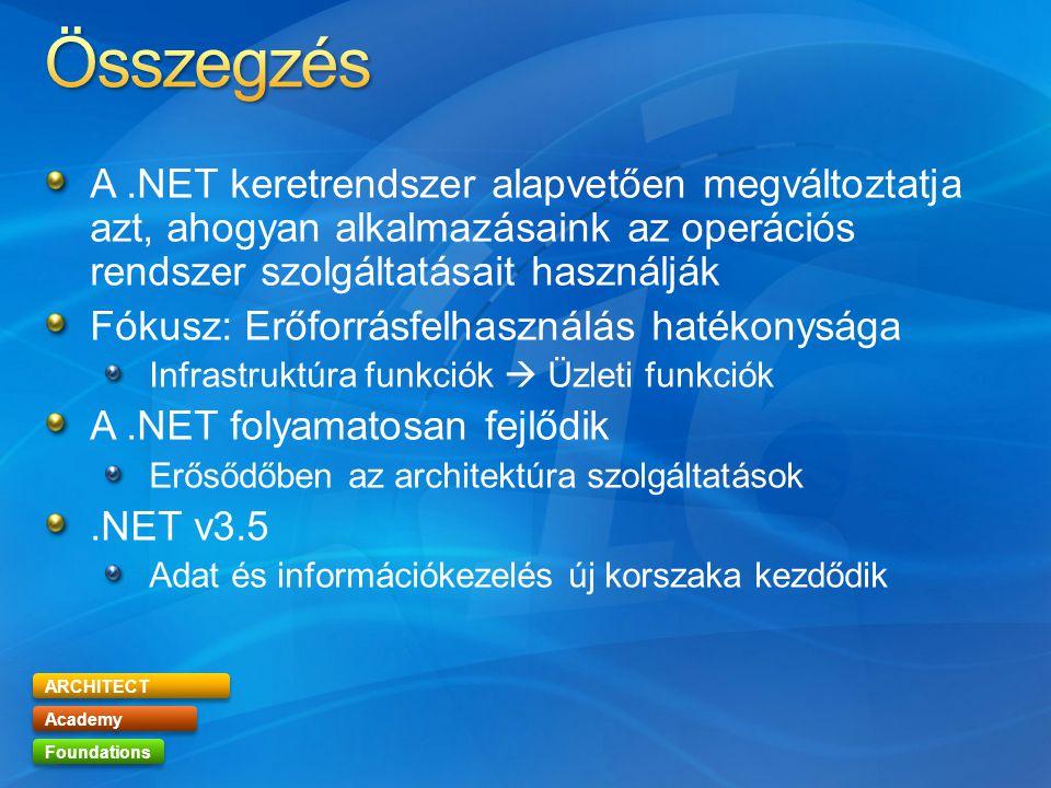 ARCHITECT Academy Foundations A.NET keretrendszer alapvetően megváltoztatja azt, ahogyan alkalmazásaink az operációs rendszer szolgáltatásait használják Fókusz: Erőforrásfelhasználás hatékonysága Infrastruktúra funkciók  Üzleti funkciók A.NET folyamatosan fejlődik Erősődőben az architektúra szolgáltatások.NET v3.5 Adat és információkezelés új korszaka kezdődik