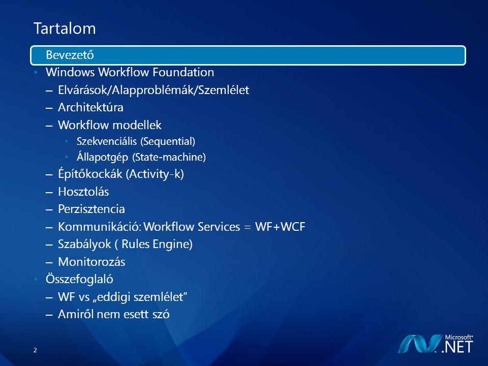 """13 Tartalom Bevezető Windows Workflow Foundation – Elvárások/Alapproblémák/Szemlélet – Architektúra – Workflow modellek Szekvenciális (Sequential) Állapotgép (State-machine) – Építőkockák (Activity-k) – Hosztolás – Perzisztencia – Kommunikáció: Workflow Services = WF+WCF – Szabályok ( Rules Engine) – Monitorozás Összefoglaló – WF vs """"eddigi szemlélet – Amiről nem esett szó"""