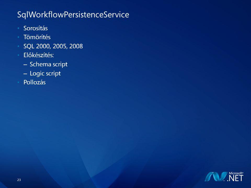 23 SqlWorkflowPersistenceService Sorosítás Tömörítés SQL 2000, 2005, 2008 Előkészítés: – Schema script – Logic script Pollozás