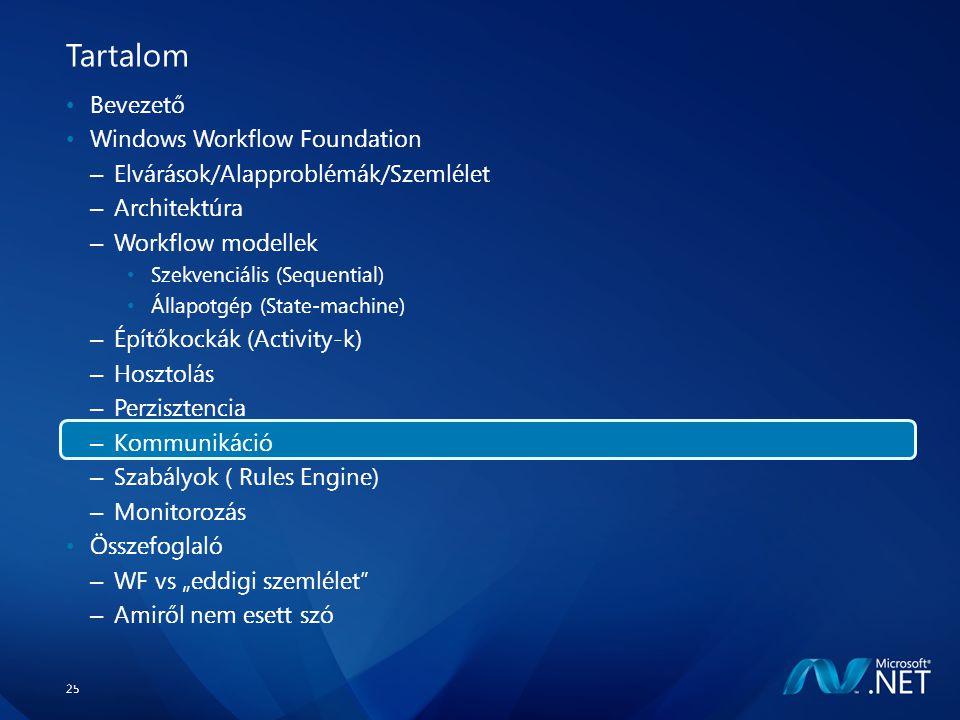 """25 Tartalom Bevezető Windows Workflow Foundation – Elvárások/Alapproblémák/Szemlélet – Architektúra – Workflow modellek Szekvenciális (Sequential) Állapotgép (State-machine) – Építőkockák (Activity-k) – Hosztolás – Perzisztencia – Kommunikáció – Szabályok ( Rules Engine) – Monitorozás Összefoglaló – WF vs """"eddigi szemlélet – Amiről nem esett szó"""