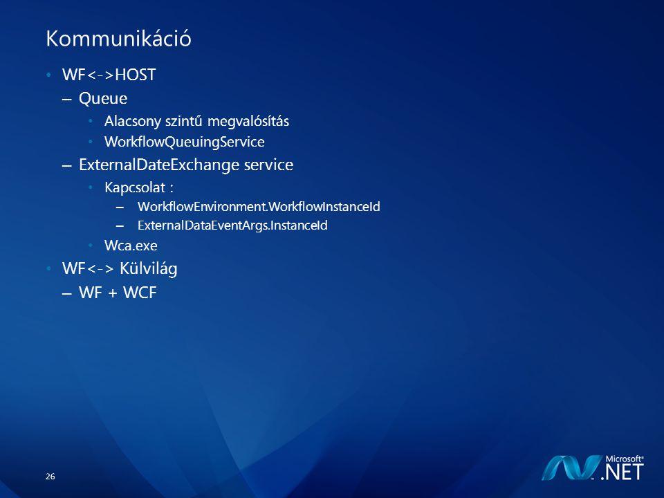 26 Kommunikáció WF HOST – Queue Alacsony szintű megvalósítás WorkflowQueuingService – ExternalDateExchange service Kapcsolat : – WorkflowEnvironment.WorkflowInstanceId – ExternalDataEventArgs.InstanceId Wca.exe WF Külvilág – WF + WCF