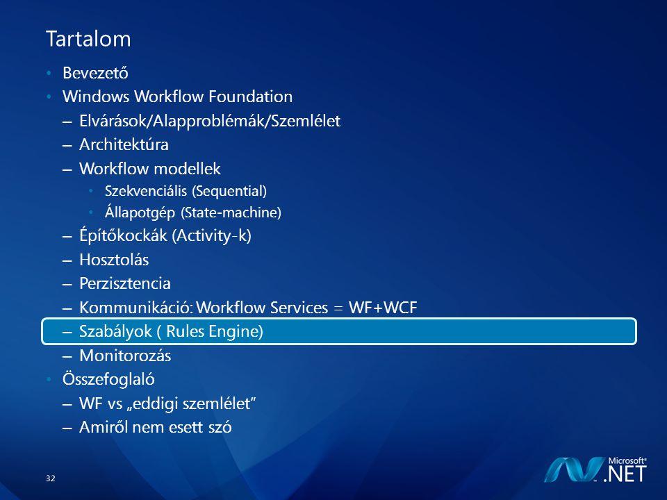 """32 Tartalom Bevezető Windows Workflow Foundation – Elvárások/Alapproblémák/Szemlélet – Architektúra – Workflow modellek Szekvenciális (Sequential) Állapotgép (State-machine) – Építőkockák (Activity-k) – Hosztolás – Perzisztencia – Kommunikáció: Workflow Services = WF+WCF – Szabályok ( Rules Engine) – Monitorozás Összefoglaló – WF vs """"eddigi szemlélet – Amiről nem esett szó"""