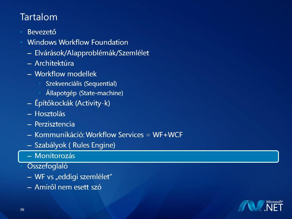 """36 Tartalom Bevezető Windows Workflow Foundation – Elvárások/Alapproblémák/Szemlélet – Architektúra – Workflow modellek Szekvenciális (Sequential) Állapotgép (State-machine) – Építőkockák (Activity-k) – Hosztolás – Perzisztencia – Kommunikáció: Workflow Services = WF+WCF – Szabályok ( Rules Engine) – Monitorozás Összefoglaló – WF vs """"eddigi szemlélet – Amiről nem esett szó"""
