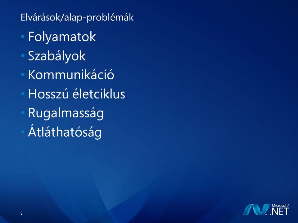 5 Elvárások/alap-problémák Folyamatok Szabályok Kommunikáció Hosszú életciklus Rugalmasság Átláthatóság