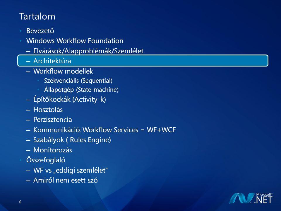 """6 Tartalom Bevezető Windows Workflow Foundation – Elvárások/Alapproblémák/Szemlélet – Architektúra – Workflow modellek Szekvenciális (Sequential) Állapotgép (State-machine) – Építőkockák (Activity-k) – Hosztolás – Perzisztencia – Kommunikáció: Workflow Services = WF+WCF – Szabályok ( Rules Engine) – Monitorozás Összefoglaló – WF vs """"eddigi szemlélet – Amiről nem esett szó"""