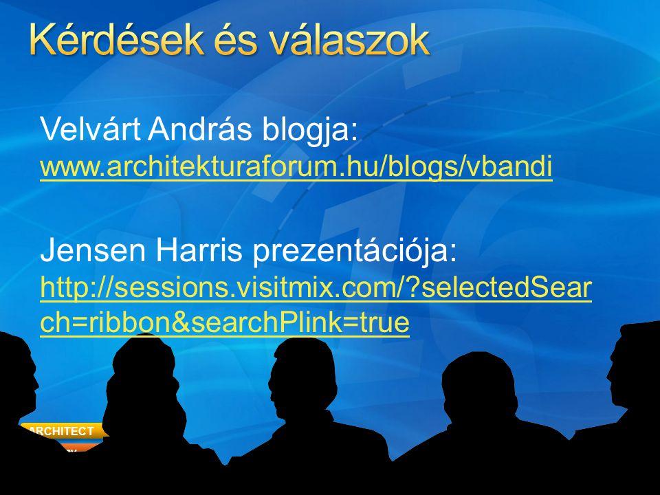ARCHITECT Academy Foundations 52 Velvárt András blogja: www.architekturaforum.hu/blogs/vbandi www.architekturaforum.hu/blogs/vbandi Jensen Harris prezentációja: http://sessions.visitmix.com/ selectedSear ch=ribbon&searchPlink=true http://sessions.visitmix.com/ selectedSear ch=ribbon&searchPlink=true