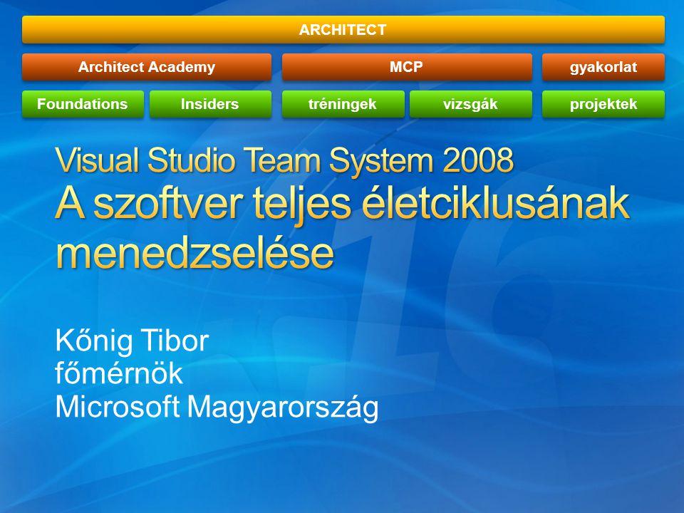 Kőnig Tibor főmérnök Microsoft Magyarország ARCHITECTArchitect AcademyFoundationsInsidersMCPtréningekvizsgákgyakorlatprojektek