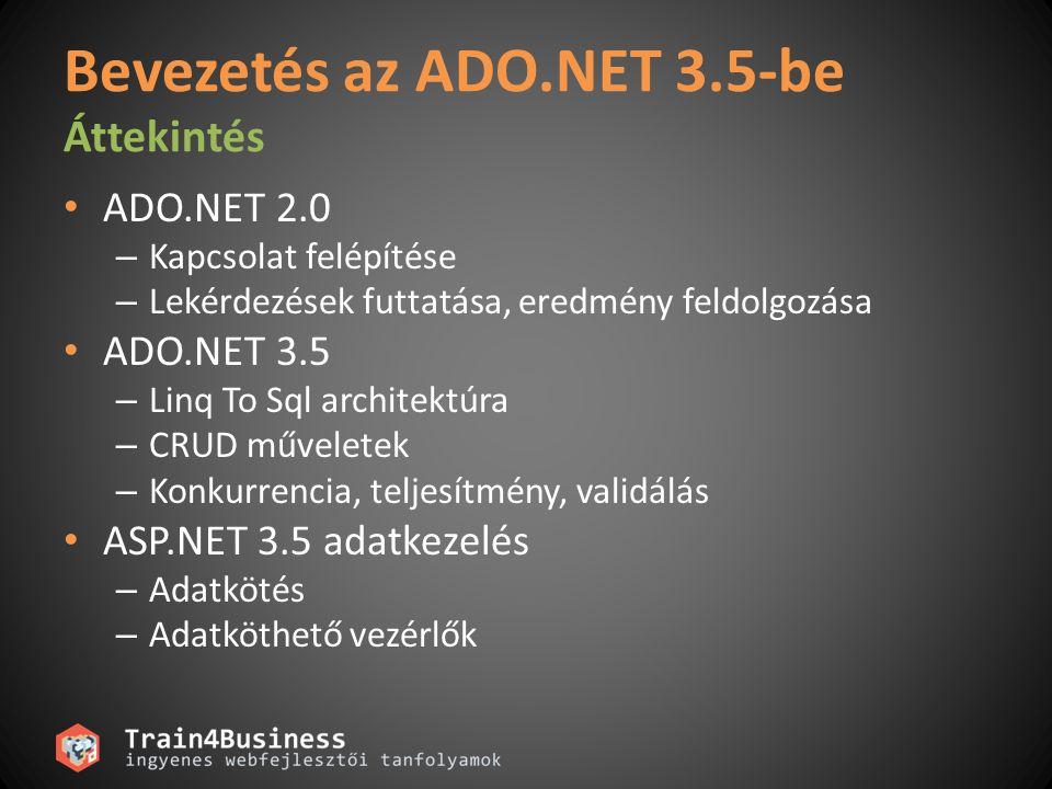 Bevezetés az ADO.NET 3.5-be Áttekintés ADO.NET 2.0 – Kapcsolat felépítése – Lekérdezések futtatása, eredmény feldolgozása ADO.NET 3.5 – Linq To Sql architektúra – CRUD műveletek – Konkurrencia, teljesítmény, validálás ASP.NET 3.5 adatkezelés – Adatkötés – Adatköthető vezérlők