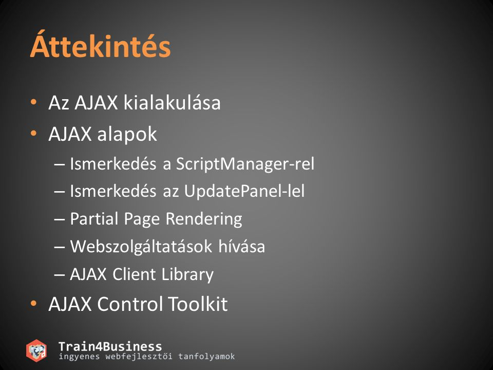 Áttekintés Az AJAX kialakulása AJAX alapok – Ismerkedés a ScriptManager-rel – Ismerkedés az UpdatePanel-lel – Partial Page Rendering – Webszolgáltatások hívása – AJAX Client Library AJAX Control Toolkit
