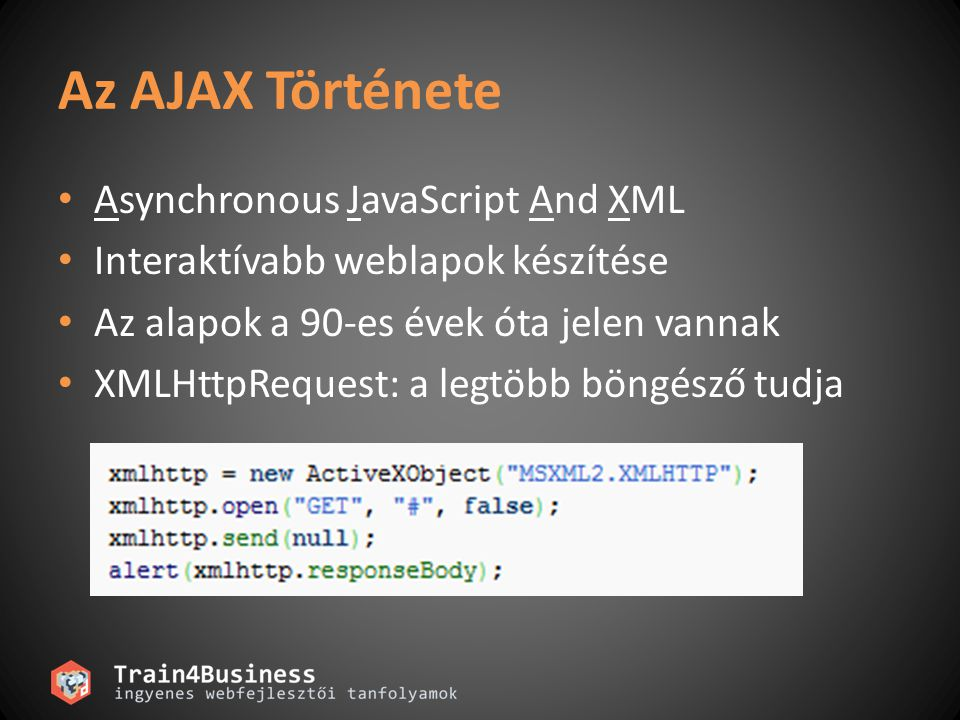 Az AJAX Története Asynchronous JavaScript And XML Interaktívabb weblapok készítése Az alapok a 90-es évek óta jelen vannak XMLHttpRequest: a legtöbb böngésző tudja