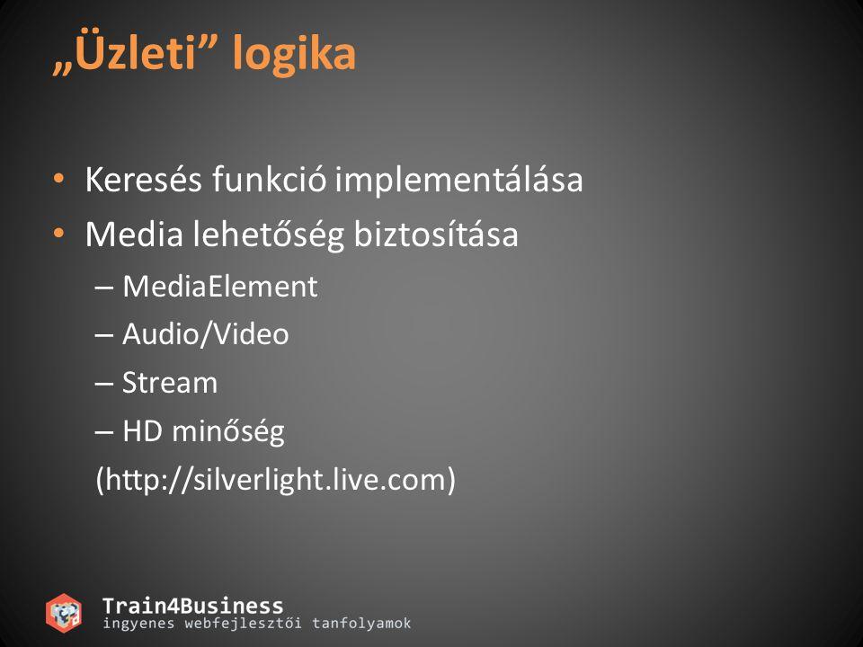 """""""Üzleti logika Keresés funkció implementálása Media lehetőség biztosítása – MediaElement – Audio/Video – Stream – HD minőség (http://silverlight.live.com)"""