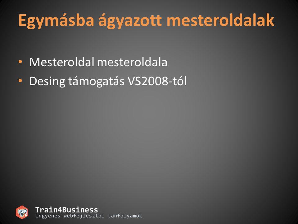 Egymásba ágyazott mesteroldalak Mesteroldal mesteroldala Desing támogatás VS2008-tól