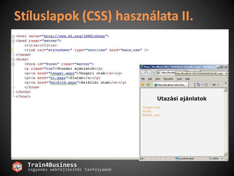Stíluslapok (CSS) használata II.