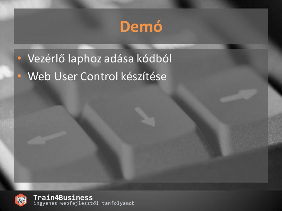 Szerver vezérlők fajtái Simple webcontrol Composite control Templated control