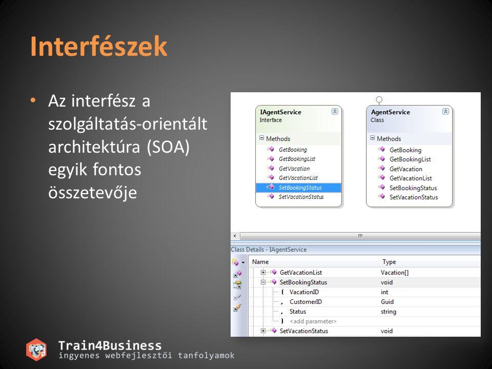 Interfészek Az interfész a szolgáltatás-orientált architektúra (SOA) egyik fontos összetevője