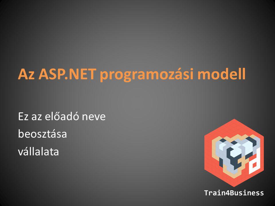 Konfigurácós lehetőségek Amit nem célszerű kódolni, azt konfiguráljuk Web.config – XML – kötött séma – kiskapu (appSettings) – a séma bővíthető A konfigurációs hierarchia – machine.config – alkönyvtárak –