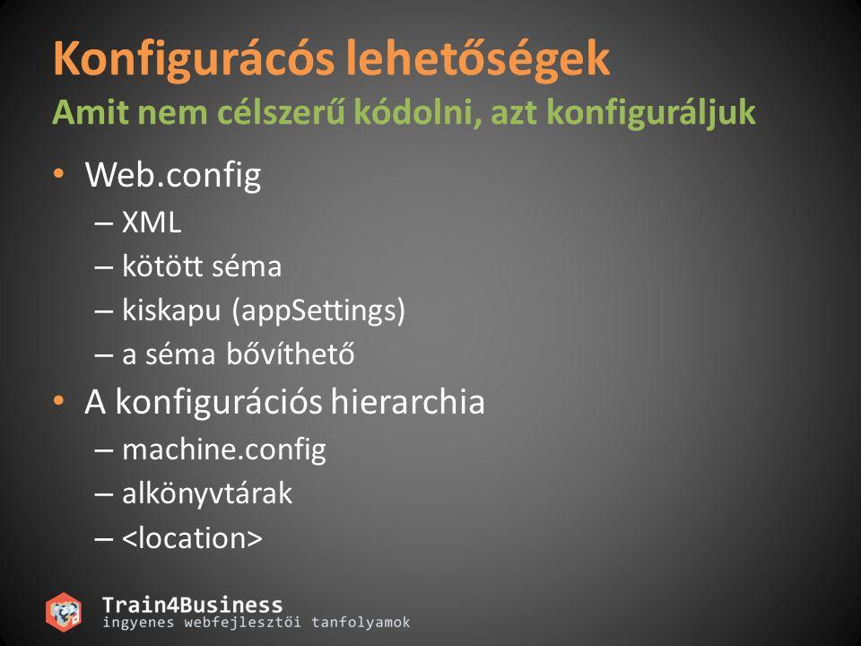 Konfigurácós lehetőségek Amit nem célszerű kódolni, azt konfiguráljuk Web.config – XML – kötött séma – kiskapu (appSettings) – a séma bővíthető A konf