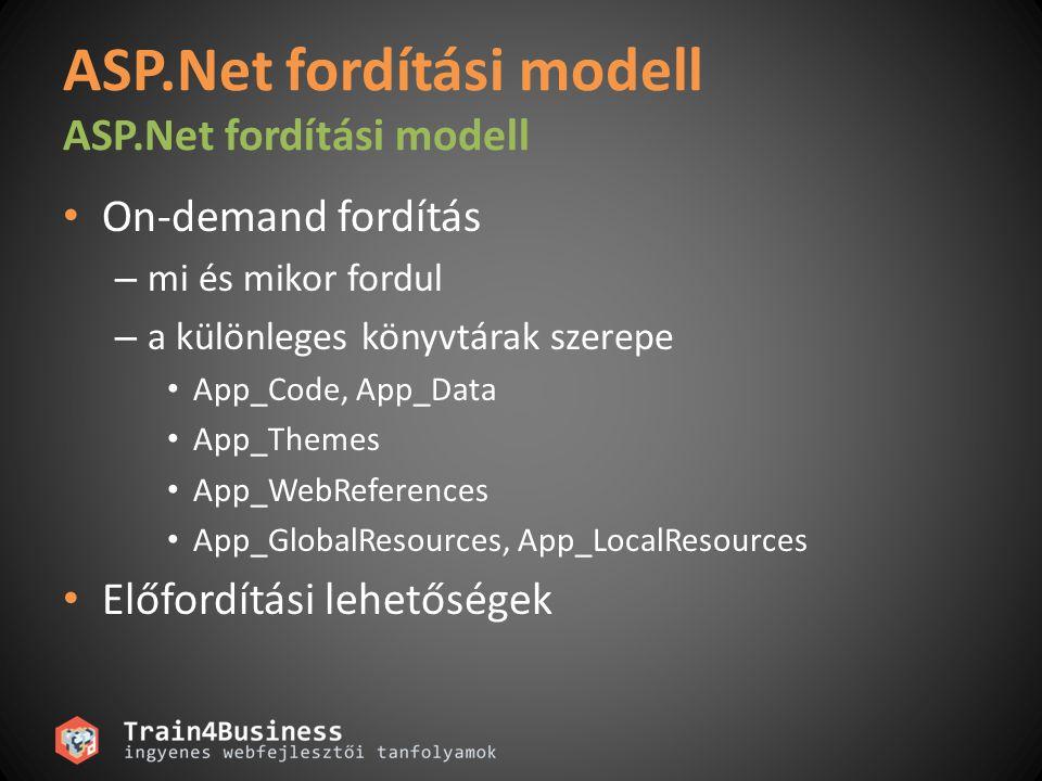 ASP.Net fordítási modell On-demand fordítás – mi és mikor fordul – a különleges könyvtárak szerepe App_Code, App_Data App_Themes App_WebReferences App_GlobalResources, App_LocalResources Előfordítási lehetőségek