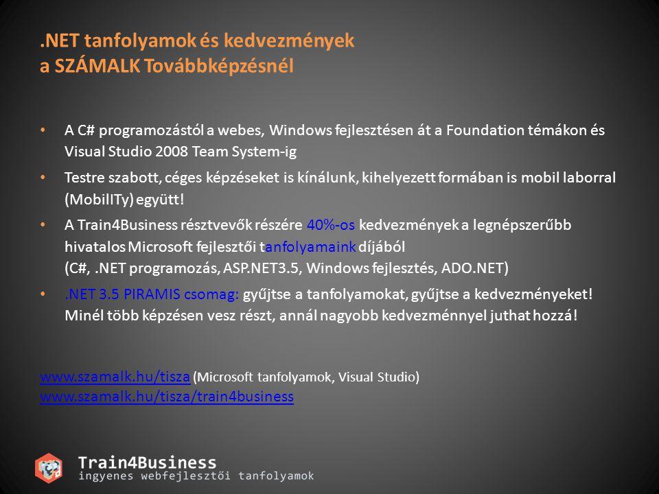 .NET tanfolyamok és kedvezmények a SZÁMALK Továbbképzésnél A C# programozástól a webes, Windows fejlesztésen át a Foundation témákon és Visual Studio