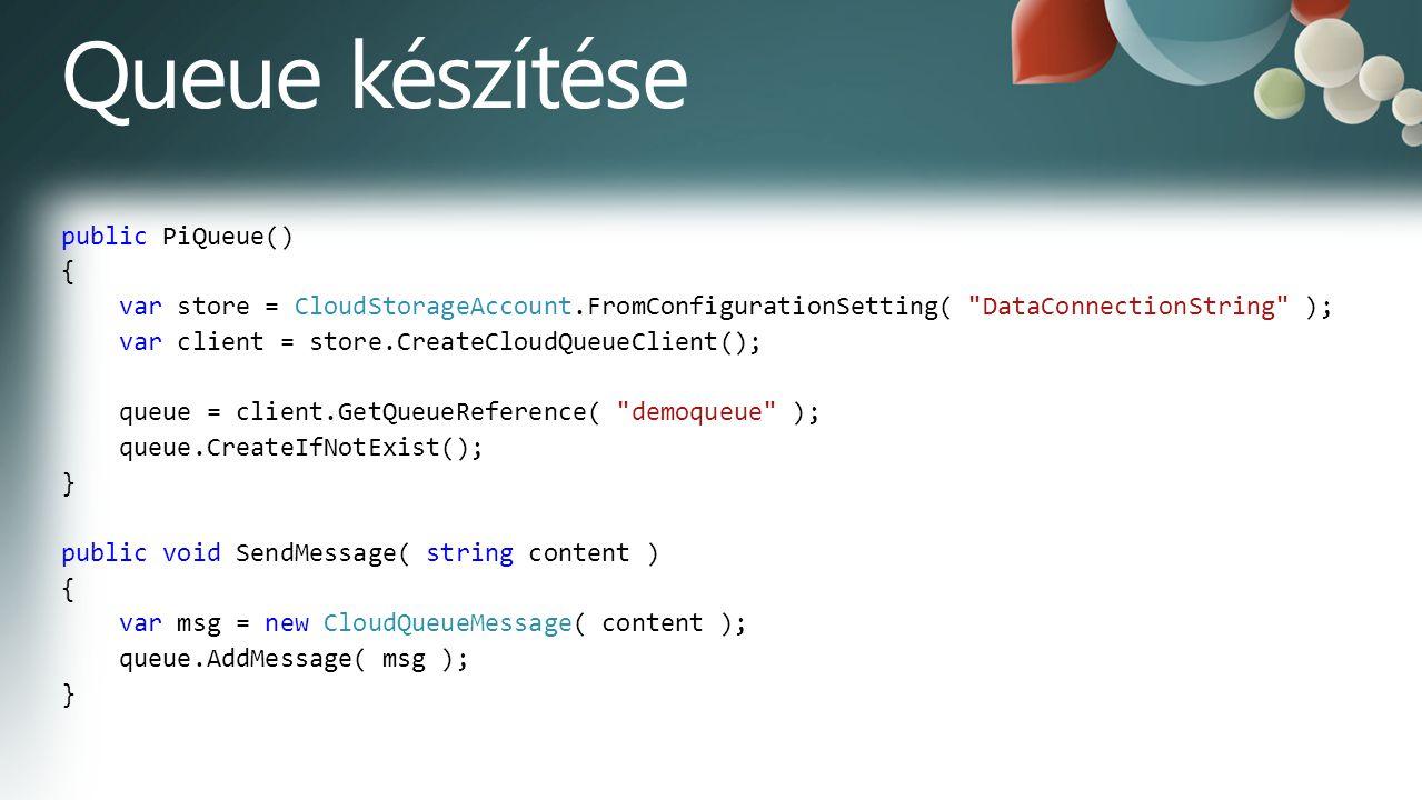 public PiQueue() { var store = CloudStorageAccount.FromConfigurationSetting( DataConnectionString ); var client = store.CreateCloudQueueClient(); queue = client.GetQueueReference( demoqueue ); queue.CreateIfNotExist(); } public void SendMessage( string content ) { var msg = new CloudQueueMessage( content ); queue.AddMessage( msg ); }