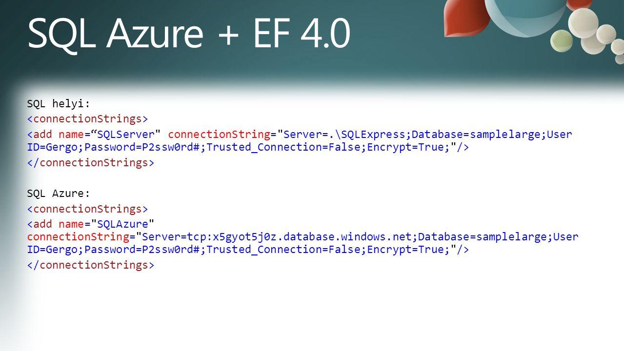 SQL helyi: SQL Azure:
