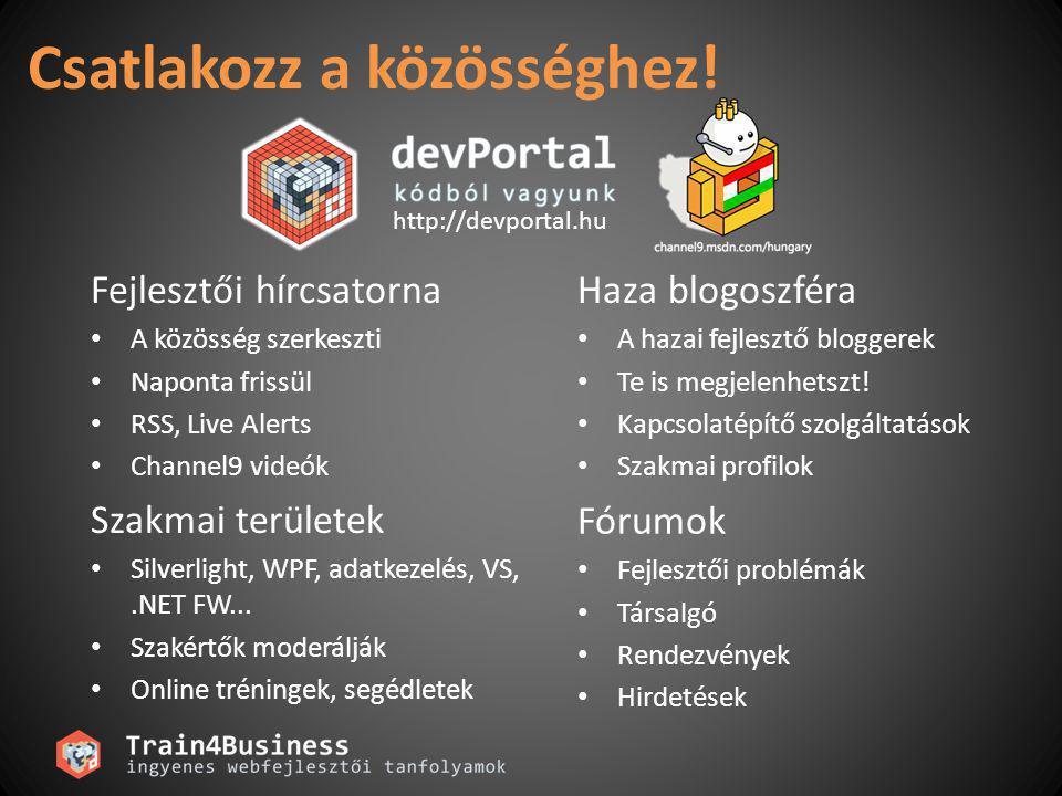 Csatlakozz a közösséghez! http://devportal.hu Fejlesztői hírcsatorna A közösség szerkeszti Naponta frissül RSS, Live Alerts Channel9 videók Haza blogo