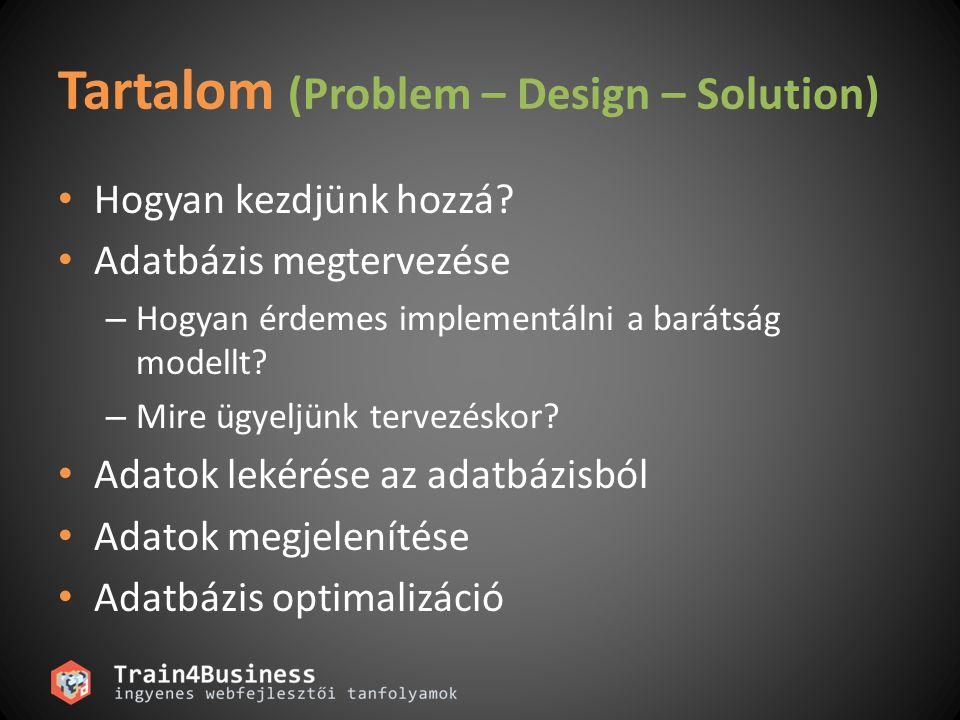 Tartalom (Problem – Design – Solution) Hogyan kezdjünk hozzá.