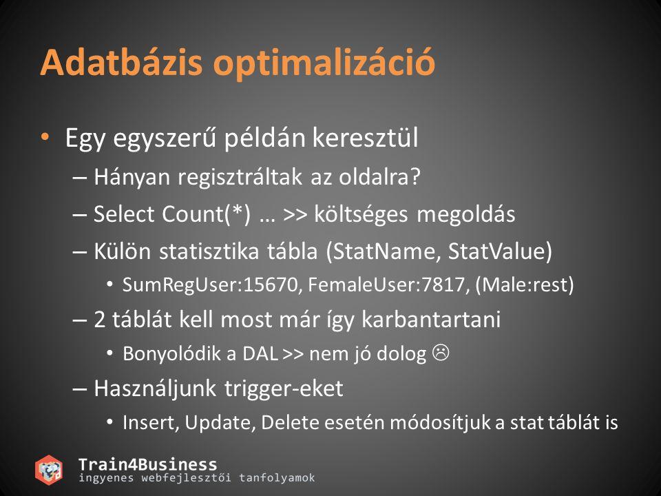 Adatbázis optimalizáció Egy egyszerű példán keresztül – Hányan regisztráltak az oldalra.