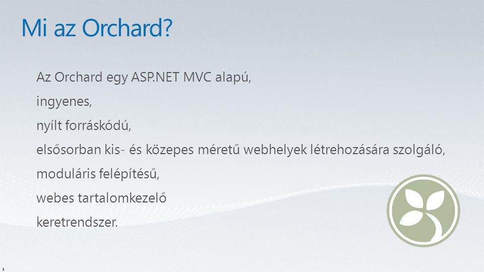 6 Az Orchard egy ASP.NET MVC alapú, ingyenes, nyílt forráskódú, elsősorban kis- és közepes méretű webhelyek létrehozására szolgáló, moduláris felépíté
