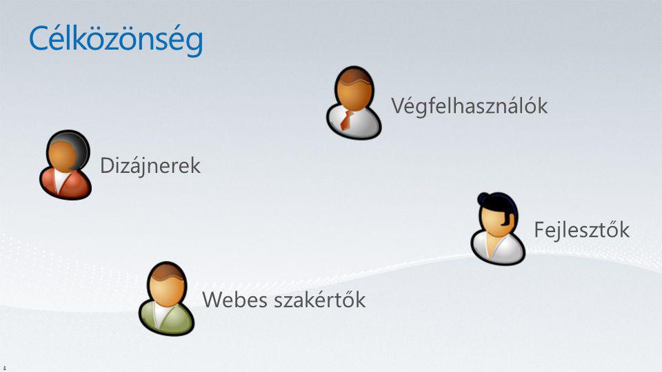 8 Végfelhasználók Dizájnerek Webes szakértők Fejlesztők