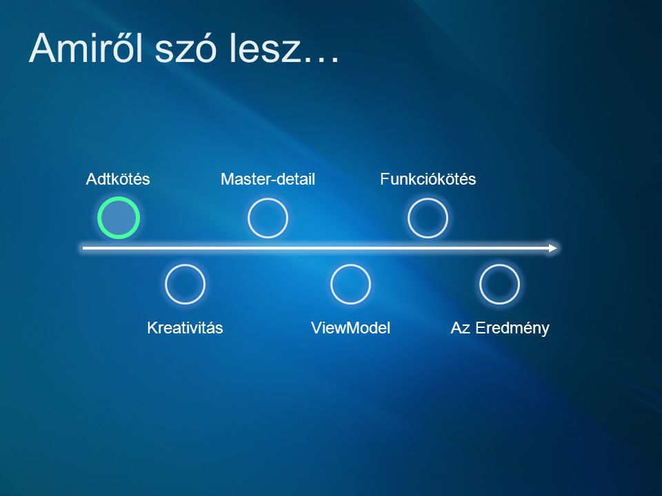 Amiről szó lesz… Kreativitás Master-detail ViewModel Funkciókötés Az Eredmény Adtkötés